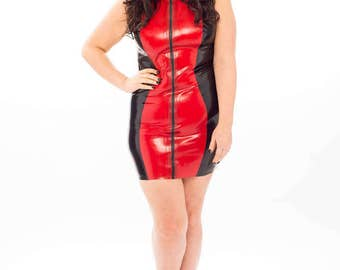 Plus Size Zip Front Bodycon Latex Rubber Dress