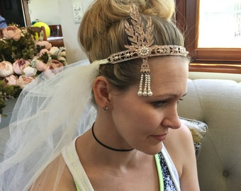 Rose gold or Silver,Crystal & pearl  flapper or Gatsby style Bachelorettes/Hens headpiece with veil pre wedding party.ivory or white veil