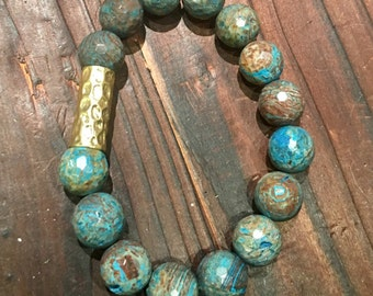 Turquoise Jasper with Gold Accent, Stretch Bracelet, Stack Bracelet