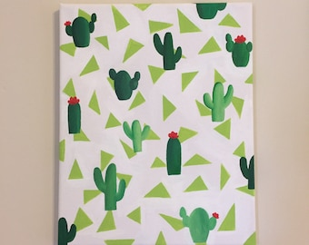 Green Cactus Canvas, 8x10 in. Canvas