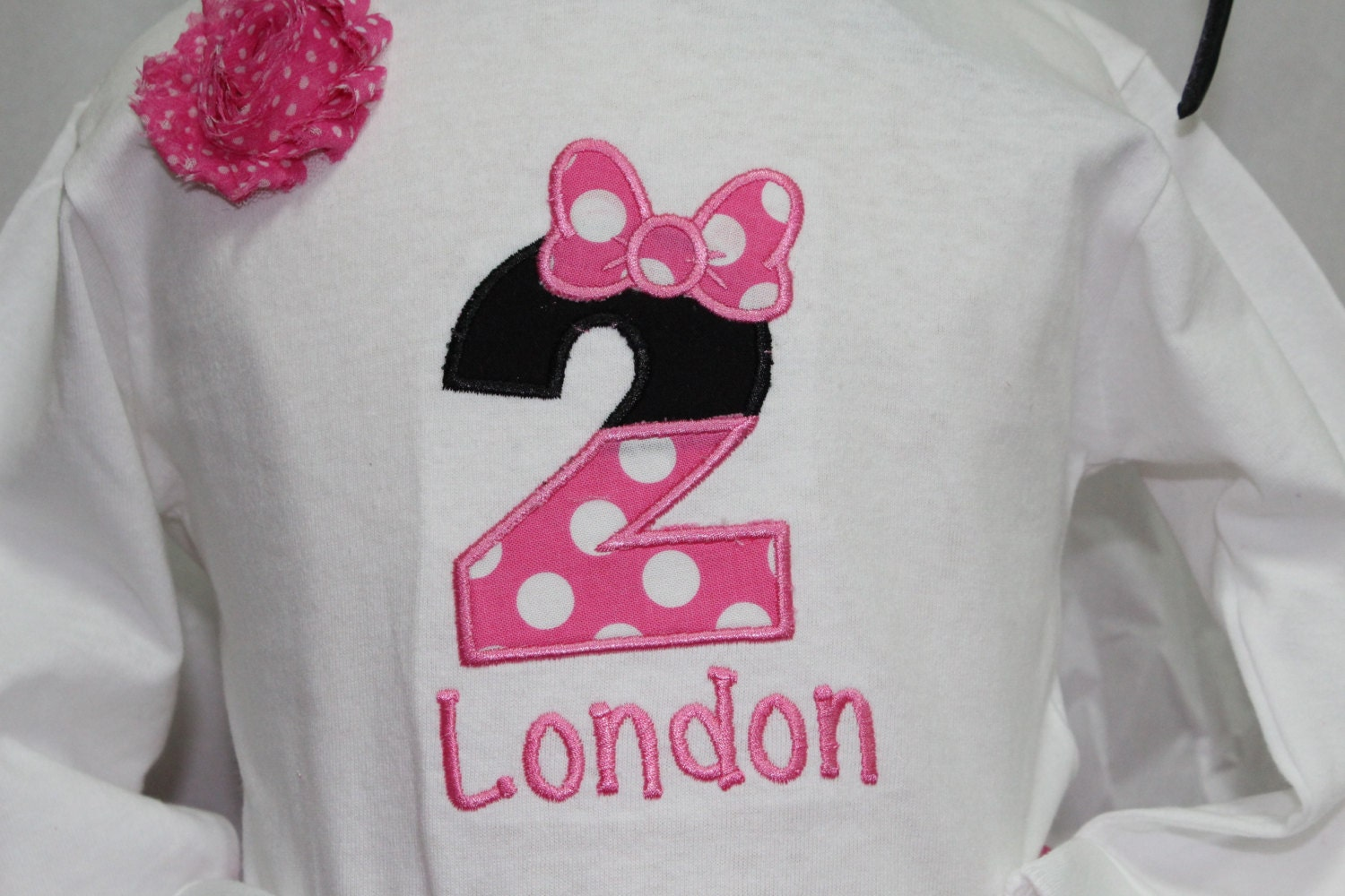 Design your own t-shirt hot pink - Girl 2nd Birthday Outfit Minnie Mouse Inspired Second Birthday Outfit Personalized Girls Birthday Shirt Hot Pink And White Polka Dot Skirt