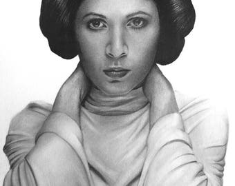 Carrie Fisher/Princess Leia Original Pencil Drawing