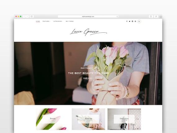 Lucie Grasso - Wordpress theme-Wordpress template- Photography template - Responsive WordPress Theme - wordpress blog theme - Fashion blog