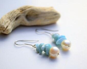 Larimar and natural pearl drop earrings
