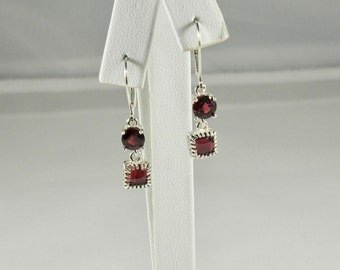 Rhodolite Garnet 4.20 TCW 6 mm Round and Square Cabochon Cut Sterling Silver Leverback Earrings