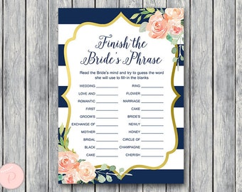 Navy & Gold Finish the Bride's phrase game, Complete the phrase , Bridal shower game, Bridal shower activity, Printable Game TH74