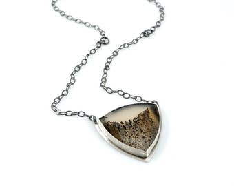 Silver Montana Agate Necklace
