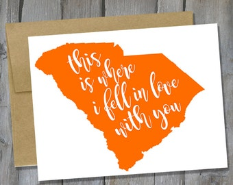 Customizable South Carolina Where I Fell In Love With You Notecard - Anniversary Card - Card for Husband/Boyfriend - Buy 3 Get 1 Free
