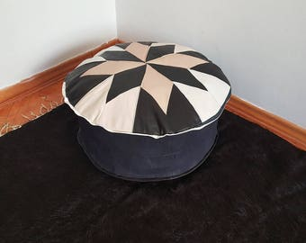 Black and White Round Pouf home & living leather ottomans poufs