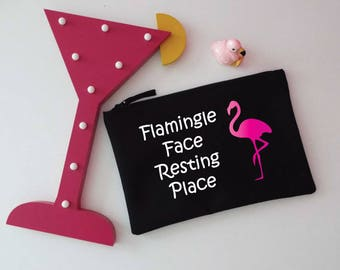 Glitter Flamingo Makeup Bag. Flamingle Face Resting Place. Flamingle Cosmetic Bag. Zip Pouch. Accessory Bag.