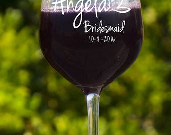 Personalized Bridal Party Wine Glasses - Set of 5 - Custom Engraved Bridal Shower, Rehearsal Dinner Gifts - Large 18 Oz Wine Glasses