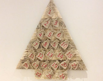 Wooden Christmas Tree 24 days of Christmas Advent calender pallet tree Childrens advent calender burlap jute bag calender recycled pallet