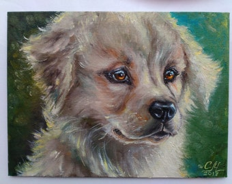 Dog lover gift|for|her Dog portrait art Small oil painting pet art decor for girls room Cute gift for pet lover gift Pet portrait paintings