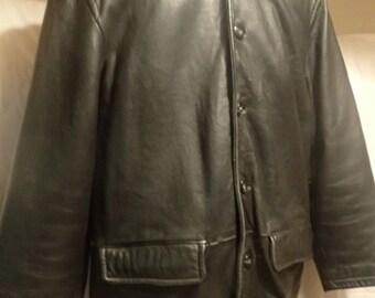 Men's black real leather car coat