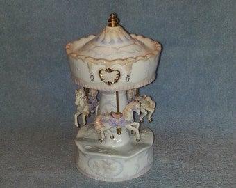Musical Carousel - Three Horse - Revolving - Porcelain