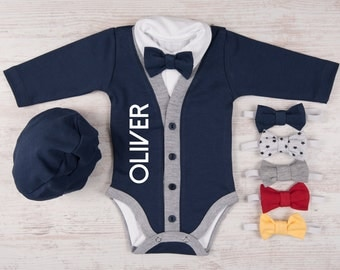 Take Home Outfit Boy, PERSONALIZED BABY BOY Outfit, Cardigan, Bodysuit, Hat & Bow Tie Set, Newborn Boy Coming Home Outfit, Photo Prop