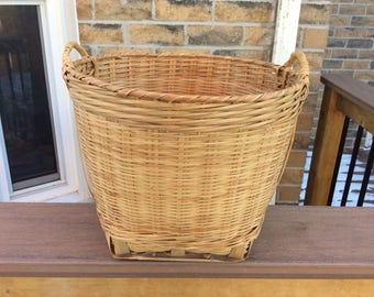 Vintage handwoven basket with handles. Wicker catch all  basket with handles. Vegetable basket. Shoe basket. Storage basket. Garbage basket.
