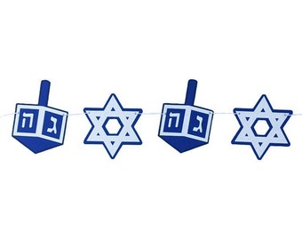 HANUKKAH BANNER - RTS Banner - Hanukkah Decoration - Star of David Banner - Star of David Decoration - Dreidel Banner - Dreidel Decoration -
