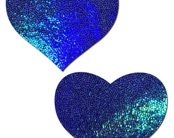Pasties - Liquid Blue Spectrum Heart Nipple Pasties by Pastease® o/s