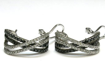 diamond earings combination white and black diamonds 14k white gold