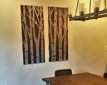 Aspen Tree Art / Metal artwork / Home Decor / Gift for her / Anniversary / Made in Colorado /  Snowy forest / Nature Lover / Birch Trees