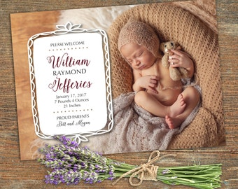 Newborn Baby Announcement, Customizable, Printable