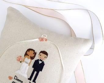Ring Pillow   Cross Stitch Wedding Portrait   Custom Cross Stitch   Wedding Keepsake   Wedding   Ring Bearer Pillow   Cloth & Twig Shop
