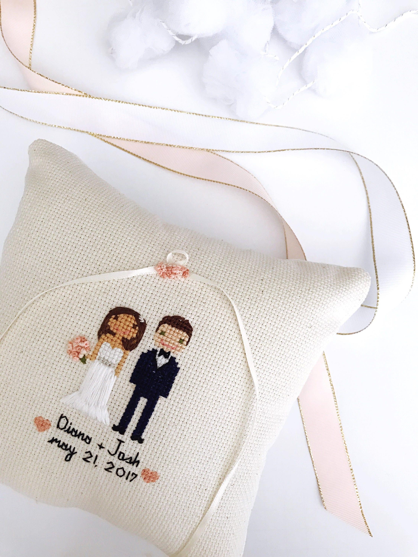 Ring Pillow Cross Stitch Wedding Portrait Custom Cross