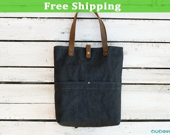 FREE SHIPPING***WAXED Denim Bag, Leather Straps,Shoulder Bag, Waxed Fabric