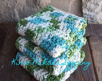 Crocheted Dishcloths - Sage, Teal, and Cream Variegated - 100 % Cotton - Set of Three