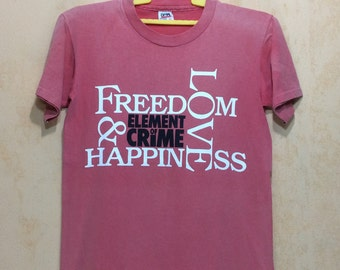 """Lately 80s Vintage Lately ELEMENT Of CRIME Freedom Loves And Happiness Rock Album Rock Band Tshirt Chest 19"""" Adult"""