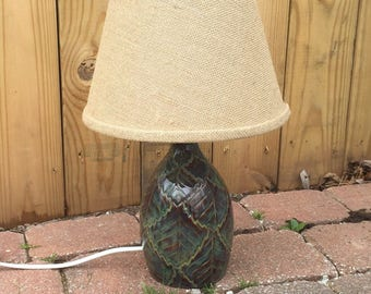 Wheel Thrown Ceramic Leaf Lamp with Burlap Shade