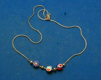 Vintage Millefiori Art Glass Bead Sterling Silver Necklace