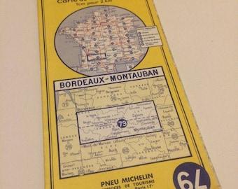 Bordeaux - Montauban Vintage Ftench Paper Map - Michelin Tyres Yellow Map 79