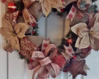 Rustic Christmas Wreath, Front Door Wreath, Burlap Mesh Christmas Wreath, Holiday Wreath, Christmas Decor, Farmhouse Christmas Decor