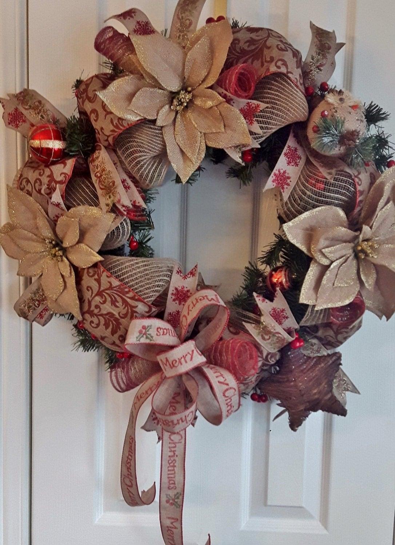 Rustic christmas wreath front door wreath burlap mesh for Front door xmas wreaths