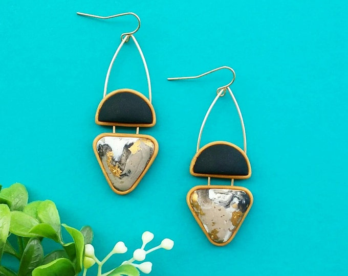 WINK DROP EARRINGS// Marbled, geometric polymer clay dangle earrings// Taupe, white, black and gold foil earrings with wire detail  #DE2035C