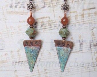 Bohemian Earrings, Boho Chic, Ethnic, Turquoise Earrings, Dangle Earrings, Triangle Earrings, Enamel Copper Earrings, Womens Gift, Handmade