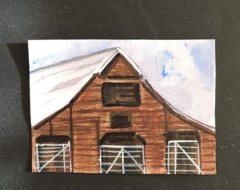 ACEO Red barn #3 original small painting