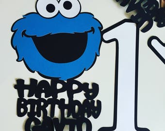 Cookie Monster Number Centerpiece Stick