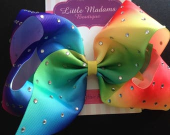 Large crystalised rainbow .Jojo inspired dance bow. 8 inch rhinestone bow.