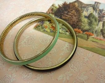 Vintage Enamel Bangle, Set of Two Bangles, Black and Green Enamel Bangles, Black Enamel Bangle, Green Enamel Bangle