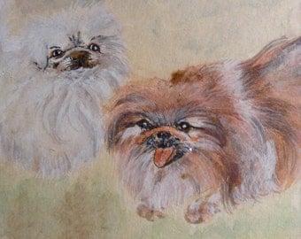 "REDUCED! Original Watercolor Gouache Chinese Brush Painting Two Dogs ""Pekes"" Signed Lasha, La Jolla Estate, Framed"