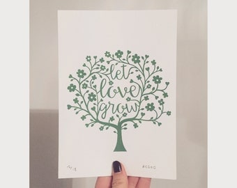 Let Love Grow Papercut Design A5 Screen Print