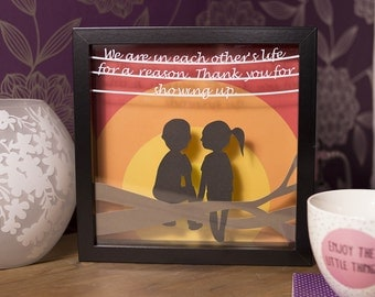 framed papercut gift, thank you gift, papercut wall art, coloured papercut, thank you for being there gift