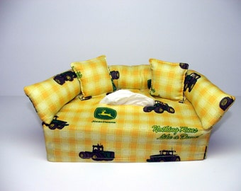 John Deere (2) Designer fabric tissue box cover.