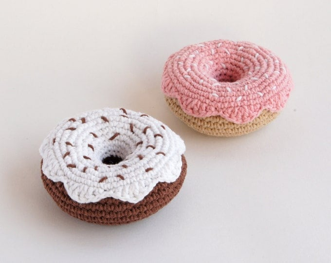 Crochet Donut - Amigurumi- Play Food - Teething Toy - Learning toy - Baby gift - Pretend Play