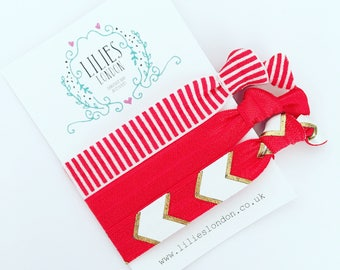Red and white hair ties