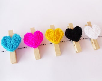 CMYK Set of 5 Heart Pegs + 1m Twine / Crocheted Heart Pegs / Black + White Twine / Ready To Ship