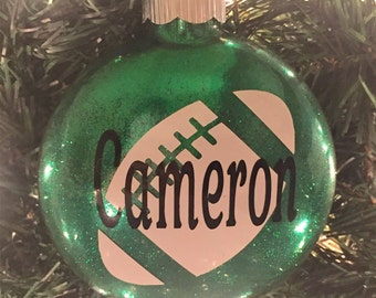 Football Glitter Ornament, Personalized -  Glass